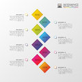 Flat colorful abstract timeline infographics vector illustration with rectangle