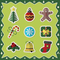Flat colorful Christmas stickers icons set on green background