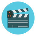 Flat colorful cinema clapper icon. Movie production symbol