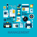 Flat colorful illustration about management, strategy and planning