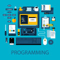 Flat colorful illustration about programming and software development