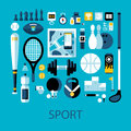 Flat colorful illustration about sport and fitness