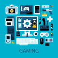 Flat colorful illustration about videogames, gamers and electronic entertainment