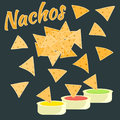 Flat colorful nachos icon, mexican food symbol Royalty Free Stock Photo