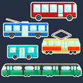 Flat colorful public transport stickers set