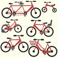 Flat colorful red bicycle set