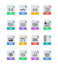 Flat colorful vector file format icons set on white