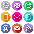 Flat communication icons stylish colourful mobile sms and e mail Royalty Free Stock Photography