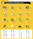 Flat computer hardware icon set of the simple icons Royalty Free Stock Image
