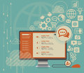 Flat computing background with social media icons