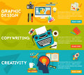 Flat concept banners. Graphic Design, Copywriting, Creativity