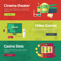 Flat concepts for cinema theater video games casino slots set of design web banners and print materials Royalty Free Stock Photo