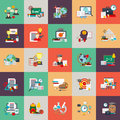 Flat conceptual icons set of education process, online learning Royalty Free Stock Photo
