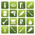 Flat cosmetic, make up and hairdressing icons Royalty Free Stock Photo