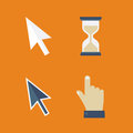 Flat cursors icons: arrow, hand, hourglass, mouse. Royalty Free Stock Photo