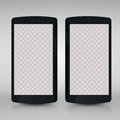 Flat 3d black smartphones mockups with blank screen isolated. Empty screen phone. Vector illustration. for printing and w