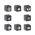 Flat 3d cube black & white button designs of camera, like, messe Royalty Free Stock Photo