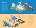 Flat 3d isometric airport terminal infographics ve