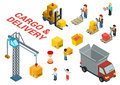 Flat d isometric cargo delivery shipment icon set template loading web infographic concept vector van crane manager Stock Images