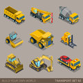 Flat 3d isometric city construction transport icon set Royalty Free Stock Photo