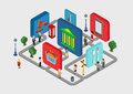 Flat d isometric city navigation icons web infographic concept interactive vector people on streets and bank restaurant court Royalty Free Stock Photography