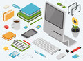Flat 3d isometric computer technology concept vector icon set