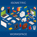 Flat 3d isometric computerized technology workspace infographic concept