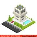 Flat d isometric condo hostel pool building block creative modern three floor condominium info graphic concept build your own Royalty Free Stock Photo