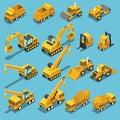 Isometric construction transport icon set