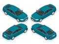 Flat 3d isometric high quality city sedan car icons set. Set of urban public transport. For infographics. Royalty Free Stock Photo
