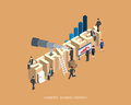 Flat 3d isometric  illustration strategy concept design, Abstract urban modern style, high quality business series. Royalty Free Stock Photo