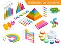 stock image of  Flat 3d isometric infographic for your business presentations. Big set of infographics with data icons, world map charts
