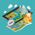 Flat 3d isometric mobile GPS navigation maps conce