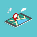 Flat 3d isometric mobile navigation maps infographic. Paper map