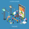 Flat d isometric mobile theme interface customization concept user web infographic vector crane people painting changing Stock Photo
