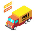 Flat 3d isometric online shopping, delivery concept. Modern infogaphic template. Isometric car. Vector illustration Royalty Free Stock Photo