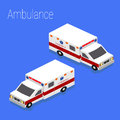 Flat 3d isometric style ambulance emergency medical evacuation accident Royalty Free Stock Photo