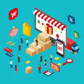 Flat 3d isometric style design concepts for e-commerce, e-shopping