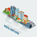 Flat 3d isometric style real estate types infographics concept
