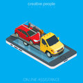 Flat 3d isometric tow truck evacuator car online Royalty Free Stock Photo