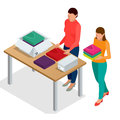 Flat 3d isometric vector illustration. Workers Checking Goods On Belt In Distribution Warehouse. Workers In Warehouse