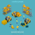 Flat 3d isometric warehouse delivery storage building interior Royalty Free Stock Photo