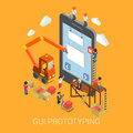 Flat d mobile gui interface prototyping web infographic isometric development concept vector crane people creating on Royalty Free Stock Images