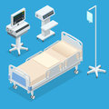 Flat 3D vector illustration Isometric interior of hospital room. Hospital room with beds and comfortable medical