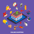 Flat 3d web isometric e-commerce, electronic business, online shopping, payment, delivery, shipping process, sales