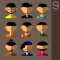 The Flat design avatar app icons set user face people man  . Vector Illustration Design Royalty Free Stock Photo