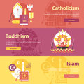 Flat design banner concepts for islam, buddhism, catholicism. Religion concepts for web banners. Royalty Free Stock Photo