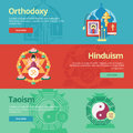 Flat design banner concepts for orthodoxy hinduism taoism religion web banners and print materials Royalty Free Stock Photos