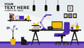 Flat design banner of Work Place