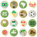 Flat Design Brazil Icons Set Royalty Free Stock Photo